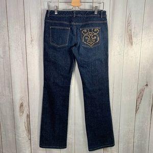 St. John Gold Rhinestone Pocket Jeans